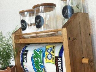 2段kitchen paper shelf コストコsize 全茶 キッチンペーパー スパイスラックの画像