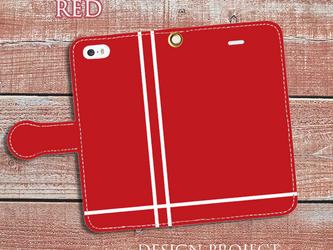 【送料無料】手帳型スマホケース ライン(赤×白)の画像
