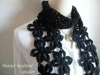 お花のストール(黒)の画像