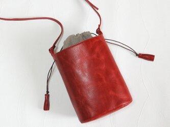 [受注生産] バケツ型のショルダーバッグ 赤の画像