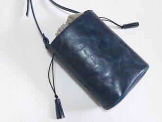 [受注生産] バケツ型のショルダーバッグ 紺の画像