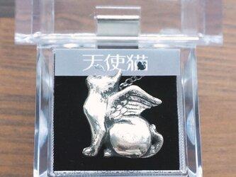 天使猫Ⅰ,2wayネックレス(帯留め)silver925 医療用ステンレスチェーン(60cm)付の画像