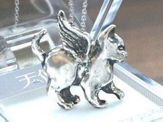 天使猫Ⅱ、2wayネックレス(帯留め)silver925 医療用ステンレスチェーン(45cm)付の画像