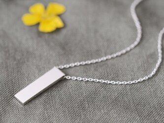 Minimal bar 長方形 ネックレス シルバー925の画像