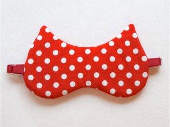 Polka-Dot Cat アイマスク 赤/無料ポーチ付の画像