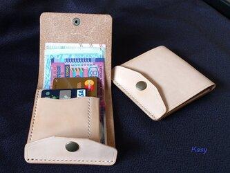 【右開口 カードポケット2 kinari】薄型シンプル札ばさみ MC-08 マネークリップ ヌメ革生成りの画像