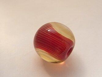 ひだ紋球・りんご・ガラス製・とんぼ玉の画像
