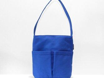 8号帆布ワンショルダーバッグ 整理しやすい6ポケット【ブルー】の画像