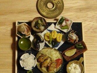 ★カキフライ定食(ふくろう柄・紺)の画像