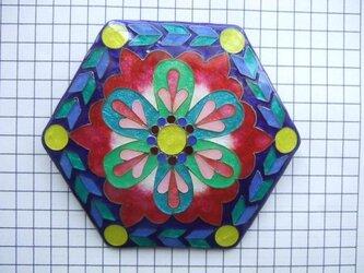 銀七宝 ノートルダム 薔薇窓 六角8cmの画像