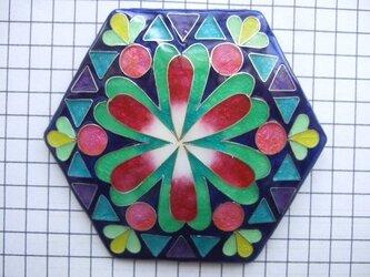 銀七宝 ノートルダム 薔薇窓 六角7cmの画像