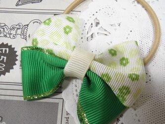 ★りぼん★ グリーン系花柄ダブルリボンのヘアゴムの画像