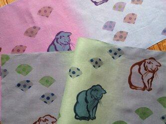 受注制作✳︎『扇と猫』手描き染め手ぬぐい✳︎一枚のお値段です。の画像