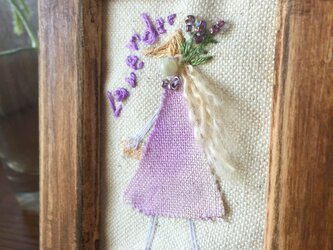 【monokli.girl】刺繍のミニフレーム~ラベンダーガール~の画像