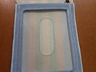 畳の縁ストライプ柄パスケースの画像