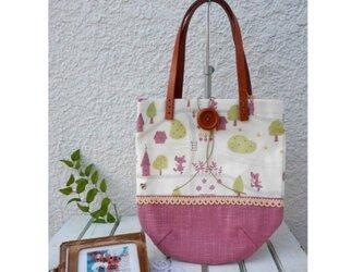 キュートな動物プリントのコットン布製ミニバッグ(ピンク)の画像