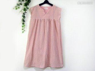 S~LL 綿麻ストライプのキーネックワンピース ピンク 【受注】の画像