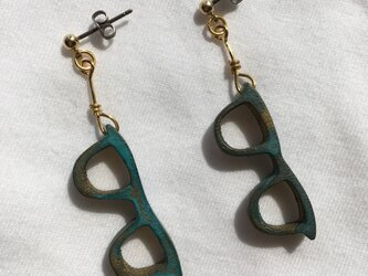 bronze glasses pierced earrings(L)の画像