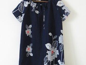 紺地紫陽花浴衣チュニックワンピースの画像