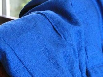 ヨーロッパリネン100% タックギャザースカート マキシ丈 ブルーの画像