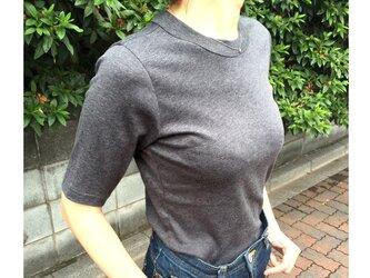 形にこだわった大人の4分袖無地Tシャツ チャコールグレー【サイズ展開有】の画像