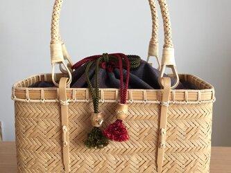 マス網代編みバッグ(中袋巾着)の画像