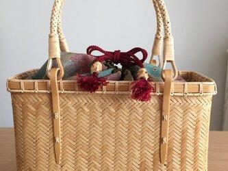 縦網代編みバッグ(中袋巾着)の画像