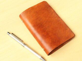 アンティークチックな革のシステム手帳【名入れ刻印/手打ち】 6穴のポケットサイズ ブラウン レザーの画像
