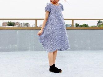 着物リメイク・男物浴衣反物から作ったパフ袖ワンピース・M の画像