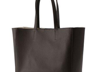 オール牛革 本革バッグ A4ファイルがスッポリ入る トートバッグ 軽量 リアル シュリンクレザー ブラウンの画像