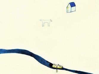 「旅の途中」イラスト原画 ※木製額縁入りの画像