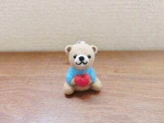 ミニミニハートくまちゃんのボールチェーン(濃い水色)の画像