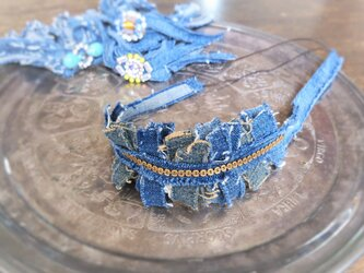 ヴィンテージデニムヘアバンド vintage denim headband chain <HB-DmCh>の画像