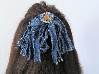 ヴィンテージデニムフリンジ&ビジューヘアゴム vintage hairtie <HG-RBD3>の画像