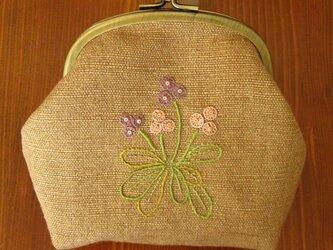 手刺繍・がまぐちポーチ(小花)の画像