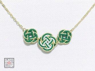 【受注製作】3連花の水引ネックレス/艶(濃緑)の画像