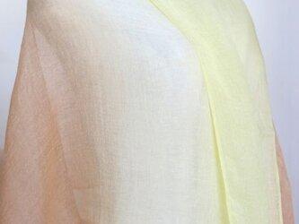 草木染リネン大判ショール縞(サーモンピンク〜白〜イエロー))の画像