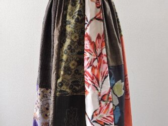 着物リメイク:いろいろ紬のパッチワークスカート(Brown)の画像