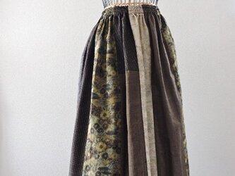着物リメイク:紬パッチのギャザースカート(Brown2)の画像