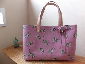 sac de chat roseトラ猫のバッグ ピンクの画像