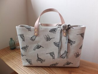 sac de chat ivoireトラ猫のバッグ アイボリーの画像