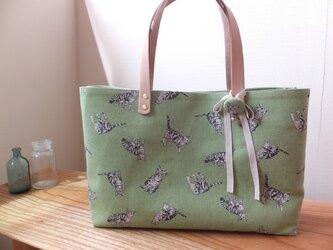sac de chat vert トラ猫のバッグ グリーンの画像