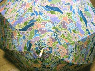 送料無料 絹交織 未使用反 爽やか日傘 バンブーハンドルの画像