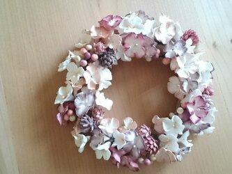 紫陽花のふわふわリース(pink)の画像