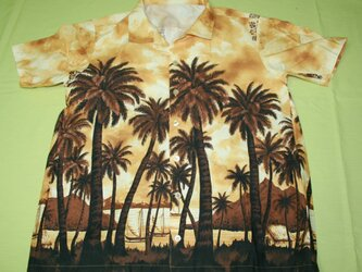 メンズアロハシャツ ベージュ地にハワイの風景柄 半袖の画像
