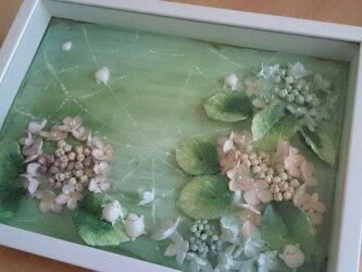 額入り「紫陽花と雨つぶちゃん」…再出品の画像