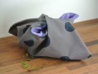 【再販】あづま袋(水玉)gray×sumiの画像