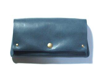 縫製のないふんわり長財布(牛革/プルアップ/ヌバック仕上げ/Blue Gray)の画像
