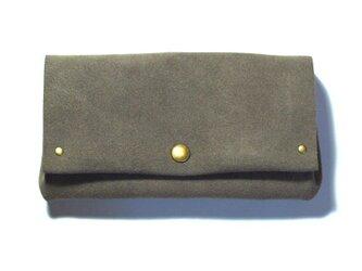 縫製のないふんわり長財布(牛革/ベロア/Brown Gray)の画像