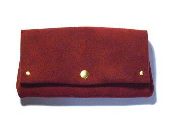 縫製のないふんわり長財布(牛革/ベロア/Wine Red)の画像